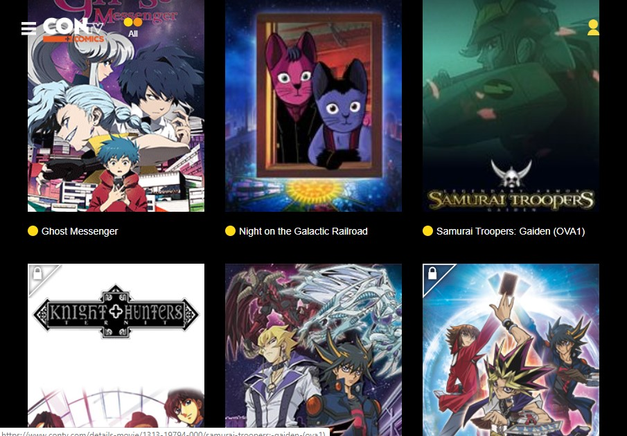 Example of animation movies in ConTV like 9anime