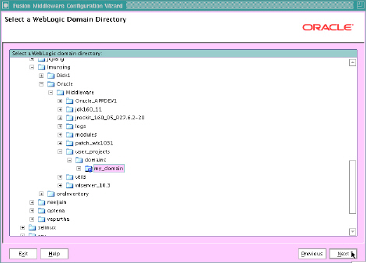 Weblogic domain directory