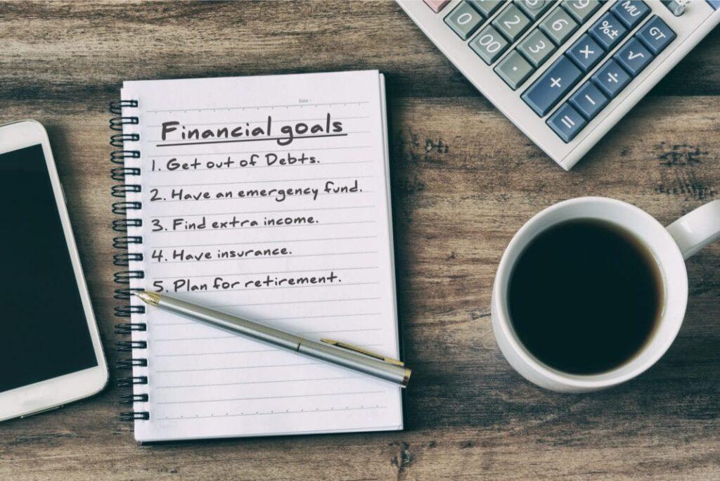 Financial goals notebook